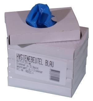 Hygienebeutel blau, 80/70 x 270 mm